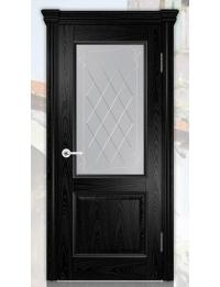 Добрый стиль Шпон Валенсия-1 (эмаль черная-патина серебро) — межкомнатные двери, Севастополь, купить