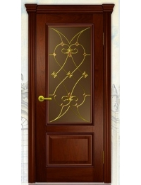 Добрый стиль Шпон Вена-1 (красное дерево) — межкомнатные двери из массива
