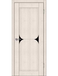 Доступные двери модель Кронос 23 ПВХ (кедр снежный) черный лакобель