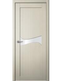 Доступные двери модель Лерр 1 ПВХ (кедр бежевый) белый лакобель
