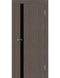 Эконом двери модель Сити В1  (палисандр серый) черный лакобель