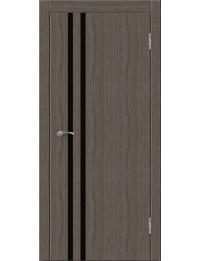 Эконом двери модель Сити В2  (палисандр серый) черный лакобель
