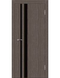 Эконом двери модель Сити В3  (палисандр серый) черный лакобель