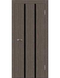 Эконом двери модель Сити В4  (палисандр серый) черный лакобель