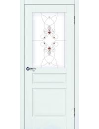 Доступные двери модель  Афродита ПО рис Ажур ПВХ (белый ясень)