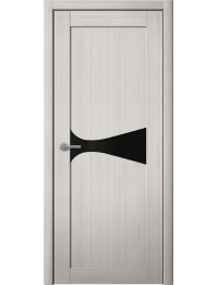 Доступные двери модель Лерр 2 ПВХ (кедр снежный) черный лакобель
