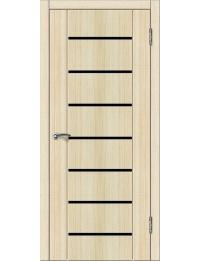 Эконом двери модель Симпл 6 (беленый дуб) лакобель черная