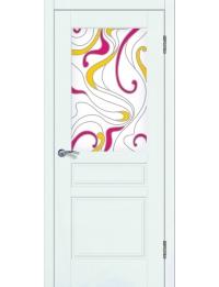 Доступные двери модель Афродита ПО рис Акварель заливной витраж ПВХ (шагрень белая)