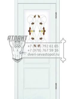 Доступные двери модель  Афродита ПО рис Шервуд заливной витраж ПВХ (шагрень белая+лак)