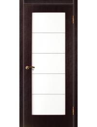 Доступные двери модель Cтиль 6М  ПВХ (венге) белый триплекс