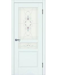 Доступные двери модель Афродита-2 ПО рис Ажур ПВХ (ясень белый)