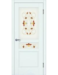 Доступные двери модель Афродита-2 ПО рис Шервуд заливной витраж ПВХ (ясень белый)