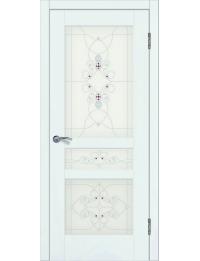 Доступные двери модель Афродита-3 ПО рис Ажур ПВХ (ясень белый)