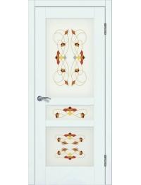 Доступные двери модель Афродита-3 ПО рис Шервуд заливной витраж ПВХ (ясень белый)
