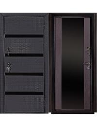 Дверь Входная БИЗНЕС с черным стеклом лакобель t-4 мм. черная мозаика;