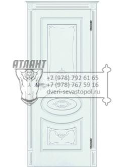 Доступные двери модель  Лидия-2 ПГ+капитель 5 ПВХ (шагрень белая)