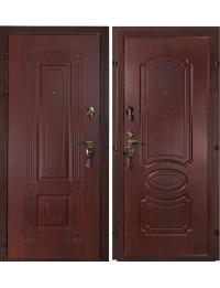 """Дверь Металлическая """"Панель-панель"""" цвет махагон с наличником"""