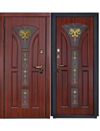 Дверь Входная Лотос  стеклопакет зеркальный 3-х камерный, покрытие Rosewood Nature 870 с черной патиной + лак, тип пленки – «VINORIT» (пр-во Израиль) с фрезер