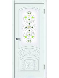 Доступные двери модель  Деметра ПО заливной витраж ПВХ (шагрень белая)