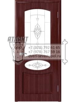 Доступные двери модель Каролина Шик ПО ПВХ (бордо) стекло Тюльпан