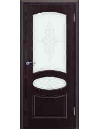 Доступные двери модель Каролина ПО ПВХ (венге) стекло Арина