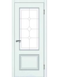 Доступные двери модель  Ницца-3 ПО ПВХ (шагрень белая)