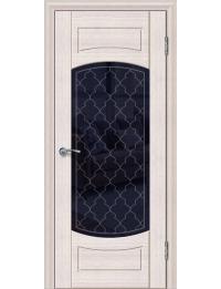 Доступные двери модель Париж 4 ПО ПВХ (кедр снежный) черный триплекс рис Париж 4