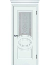 Доступные двери модель Патрисия-3+капитель12 ПО  ПВХ (шагрень белая)