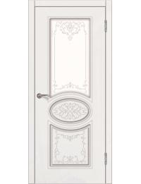 Доступные двери модель Патрисия ПО  ПВХ (шагрень белая)