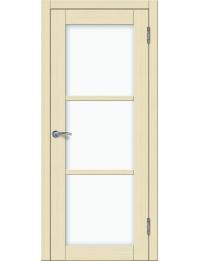 Доступные двери модель Токио 3 ПО ПВХ (кедр бежевый) белый триплекс