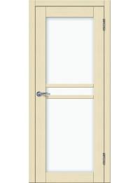 Доступные двери модель Токио 4 ПО ПВХ (кедр бежевый) белый триплекс