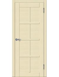 Доступные двери модель Токио 5 ПГ ПВХ (кедр бежевый) белый триплекс