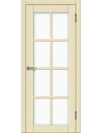 Доступные двери модель Токио 5 ПО ПВХ (кедр бежевый) белый триплекс