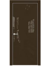 Межкомнатная дверь Alum Скрытые Арт стекло цвет RAL 8028 стекло Lacobel, Без обработки