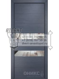 Межкомнатная дверь Alum Лайн шпон  Дуб графит, вставки зеркало