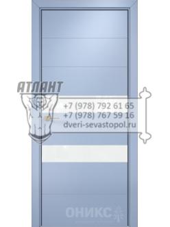 Межкомнатная дверь Alum Лайн Эмаль голубая МДФ, вставки Lacobel RAL 0333