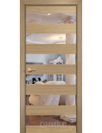 Межкомнатная дверь Alum Нео шпон Капучино вставки зеркало