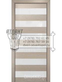 Межкомнатная дверь Alum Нео шпон Мокко вставки Lacobel RAL 1013