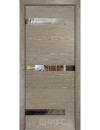 Межкомнатная дверь Alum Силуэт шпон  Акация вставки зеркало