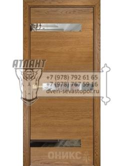 Межкомнатная дверь Alum Силуэт шпон  Дуб золотистый вставки зеркало