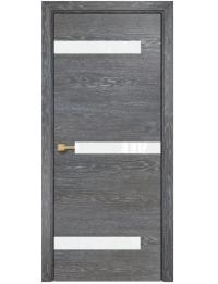 Межкомнатная дверь Alum Силуэт шпон  Дуб седой вставки Lacobel RAL 0333