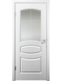 Межкомнатная дверь Аделия эмаль белая стекло сатин с гравировкой