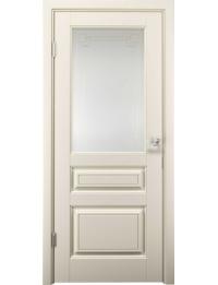 Межкомнатная дверь Альда экошпон цвет Крем (Soft Touch) стекло матовое с гравировкой