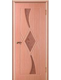 Доступные двери модель Кристалл 3 ПВХ (лен)
